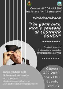 """#BiblioInRock 2020: """"I'M YOUR MAN. Vita e Canzoni di LEONARD COHEN"""""""