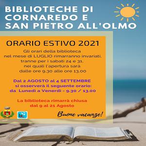 ORARIO ESTIVO BIBLIOTECHE E NOTIZIE SU GREEN PASS IN BIBLIOTECA